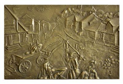 Telšių mitai. 1831–1863 m. sukilimams. 1987 m. Bronza, lieta, 17,5 × 27,6 cm