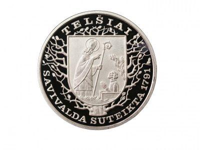 Telšių miestui. 2006 m. Sidabras, kaltas, Ø 4 cm. Lietuvos monetų kalykla. Reversas